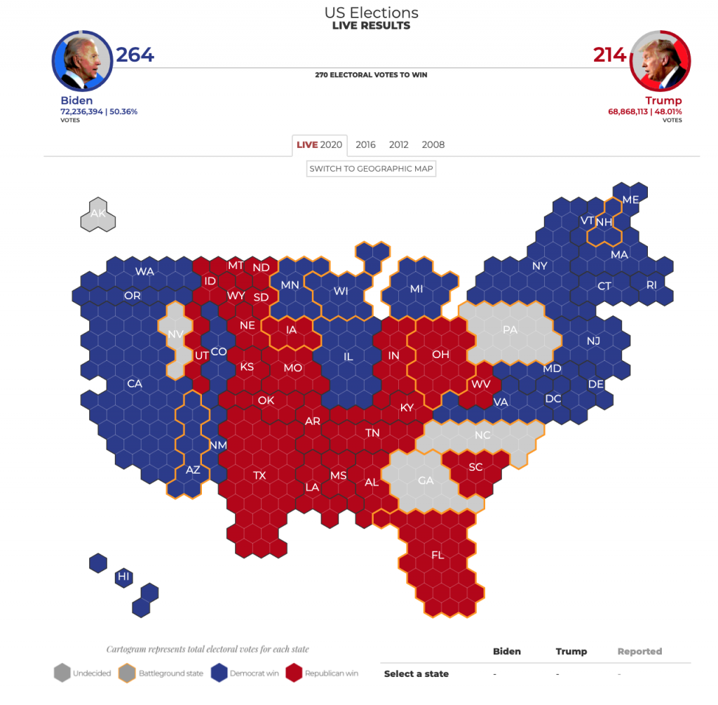 Cartographic view of US election results
