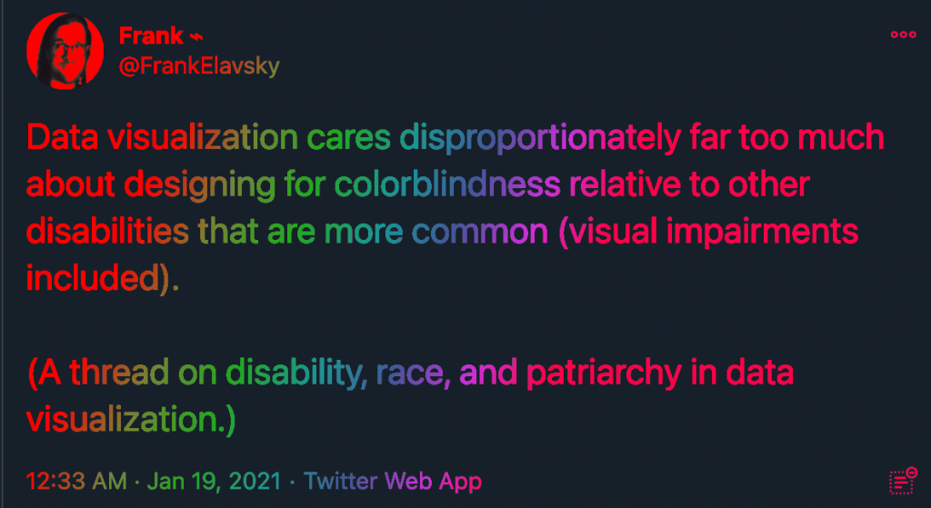 "A tweet that reads ""Data visualization cares disproportionately far too much about designing for colorblindness relative to other disabilities that are more common (visual impairments included). (A thread on disability, race, and patriarchy in data visualization.)"""