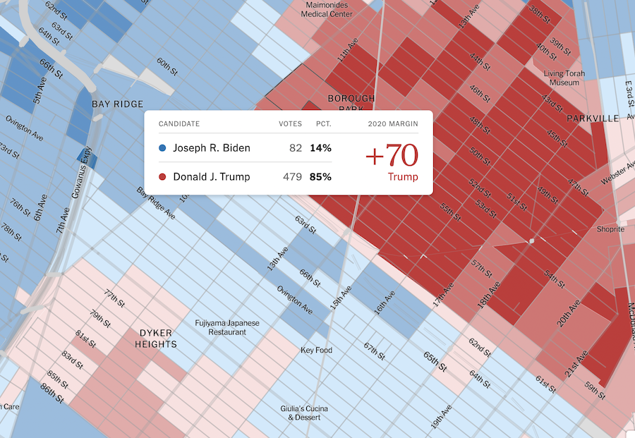 A detailed map of New York's voting results