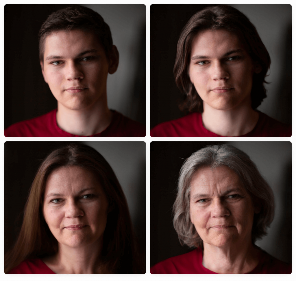 Four faces, one of which is real and the others altered by AI